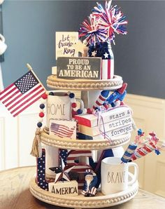 Farmhouse stamped books/patriotic book stack and bead bundle/patriotic stamped books/patriotic tiered tray/tiered tray decor - Dollar tree christmas diy Summer Deco, Fourth Of July Decor, 4th Of July Decorations, July 4th, Bar Decorations, Tips And Tricks, Metallic Spray, Plywood Furniture, I Need Vitamin Sea