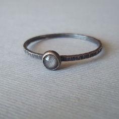 Tiny Grey Velvet Ring - Silver Obsidian - Sterling and Fine Silver. $28.00, via Etsy.