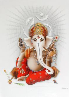 Lord Ganesha - ( Poster with Glitter ) - Hindu Posters (Reprint on Paper - Unframed) Shiva Art, Ganesha Art, Hindu Art, Ganesha Tattoo, Ganesha Pictures, Ganesh Images, Hindus, Ganpati Bappa Wallpapers, Om Gam Ganapataye Namaha