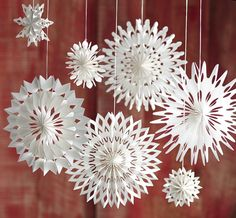 Our airy Roost Paper Snowflake Ornaments are reminiscent of childhood craft projects, pearlized white paper is folded. Three delicate styles ship in each mixed case pack. Paper Ornaments, Snowflake Ornaments, Christmas Snowflakes, Christmas Holidays, Christmas Crafts, Christmas Decorations, Christmas Ornaments, Navidad Diy, Paper Crafts