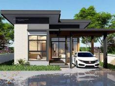 Looking for a modern minimalist house design? Here it is, a 4 bedroom house and double storey. The modern appeal of the exterior consist of white walls, wood texture and dark metallic schemes. Small Modern House Plans, Small House Design, Modern House Design, Double Storey House Plans, One Storey House, Open Floor House Plans, Porch House Plans, Modern Architectural Styles, House Plans Australia