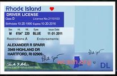 Template RHODE ISLAND drivers license editable photoshop file .psd