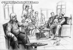 Fd imgesel 85 huzurevi by FREEdige on DeviantArt Human Drawing, Life Drawing, Figure Drawing, Drawing Reference, Sketches Of People, Drawing People, Art Sketches, Perspective Drawing Lessons, Perspective Sketch
