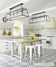 Floors, color palette- overall light and bright tone yet deep contrast, light fixtures.  Dislike island but love that it contributes to airy feel but I need to hide and shine!