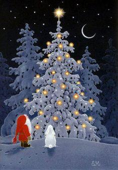 """Eva Melhuish et . Nissi - """"Impressions plus de connaissances . Christmas Scenes, Noel Christmas, Vintage Christmas Cards, Christmas Pictures, Winter Christmas, Xmas, Outdoor Christmas, Illustration Noel, Christmas Illustration"""