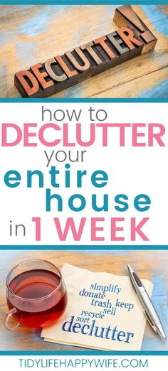 Tired of the chaos and clutter? Here's a day by day, room by room breakdown to declutter your entire home in just one week. How to beat the overwhelm and get started. Kitchen counters to bedroom… Declutter Home, Declutter Your Life, Organizing Your Home, Organizing Tips, Decluttering Ideas, Cleaning Checklist, House Cleaning Tips, Cleaning Hacks, Clutter Solutions