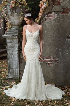 Justin Alexander Signature - Style 9819: Geometric Hand Beaded Bridal Gown with Plunging Back
