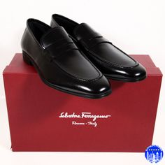 a24de72bb36  560 new salvatore ferragamo men s penny loafers black leather shoes  drivers nib