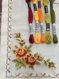This Pin was discovered by Neş Cross Stitch Needles, Cross Stitch Rose, Cross Stitch Borders, Cross Stitch Flowers, Cross Stitch Charts, Cross Stitch Designs, Cross Stitching, Cross Stitch Patterns, Hand Embroidery Stitches