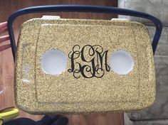 Glitter and monogram top painted cooler