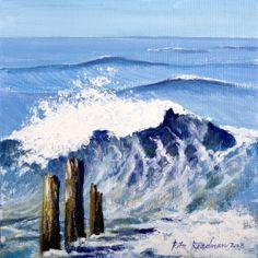 'Wave and Groynes Sandsend'   Acrylic https://www.facebook.com/pages/Rita-Readman-Art/270262966411327