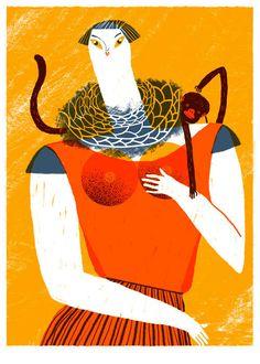 Señora con Chango - Screen print // illustration