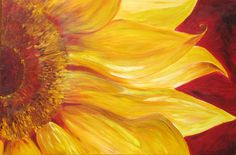 Sunflower art print - print on paper - yellow flower with deep red background - art print from original acrylic painting . gift under 50 #etsy #Tangoart