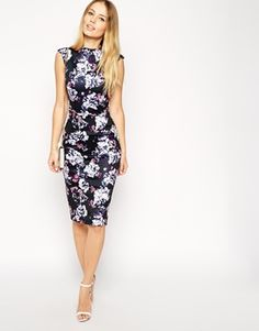 Enlarge ASOS Pencil Dress in Floral Print with High Neck