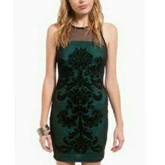 Green Mesh Damask Dress