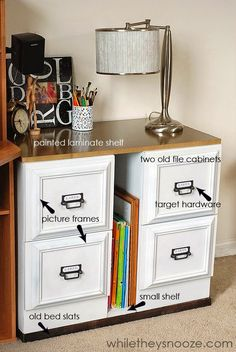 File Cabinet Makeover~ LOVE this idea!! Genius! (Awesome tutorial) via While They Snooze