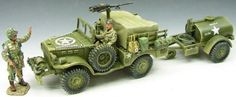 World War II U.S. 101st Airborne DD049 Weapons Carrier & Water Tank - Made by King and Country Military Miniatures and Models. Factory made, hand assembled, painted and boxed in a padded decorative box. Excellent gift for the enthusiast.
