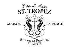 Shabby Chic Stencil - St. Tropez Vintage French Advert - Touch the Wood