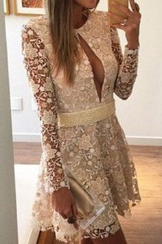 Sexy Jewel Neck Long Sleeves Slit Lace Dress For Women