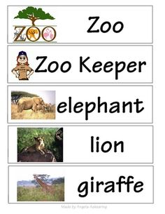 Make or add to your word wall these zoo themed words. Make a literacy center with zoo words. Planning a field trip to the zoo? Get the kids excited...