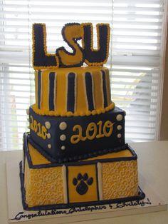 LSU TIGERS  CAKE! Football Theme Birthday, Football Themes, 21st Birthday, Birthday Cake, Lsu Tigers Football, Football Baby, Tiger Cake, Sweet Cheeks, Grad Parties