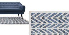 Laren handgewebter Teppich 160 x 230cm, Denim Blau