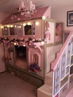 Sweet Pea Bunk Beds Do It Yourself Home Projects from Ana White Dream Rooms, Dream Bedroom, Girls Bedroom, Bedroom Ideas, Trendy Bedroom, Bedroom Decor, Toddler Girl Bedrooms, Magical Bedroom, Toddler Rooms