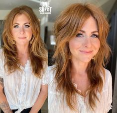 Mom Hairstyles, Pretty Hairstyles, Corte Shaggy, Medium Hair Styles, Curly Hair Styles, Long Shag Haircut, Corte Y Color, Hair Color And Cut, Hair Brained