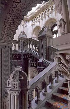 the grand stair case in penrhyn castle that is original to when our ancestors owned penrhyn