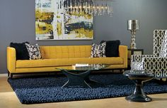 Blue and yellow living room. My favorite colors. An amazing living room!