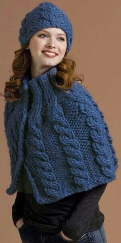 Cabled capelet and hat pattern from NY yarn Grande - exclusive to Patternworks Poncho Knitting Patterns, Crochet Poncho, Knitted Shawls, Crochet Scarves, Knit Patterns, Ladies Poncho, Knit Fashion, Turtlenecks, Google
