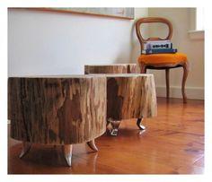 Tree stump tables @Janel Barnett  - needin me a large tree stump... want a table outside :)