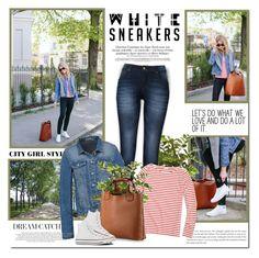"""""""Bright White Sneakers"""" by lilly-2711 ❤ liked on Polyvore featuring J.Crew and Converse"""