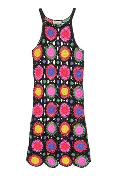 H&M LOVES COACHELLA. Vestido de cuadros de ganchillo en tejido de algodón. Tirantes finos. Sin forrar.