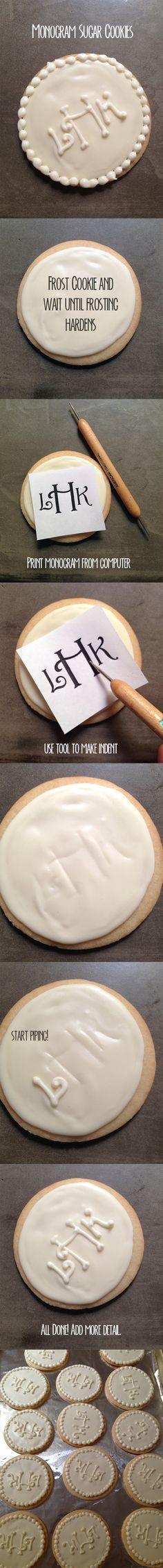 how to monogram a sugar cookie. #monogram #sugarcookie