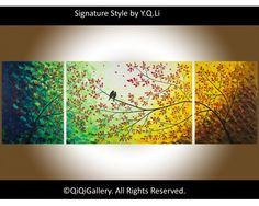 """At the End of the Rainbow 72 Abstract Landscape Original Modern Heavy Texture Impasto Palette Knife Painting Love Birds Wall Décor """"At the End of the Rainbow"""" by QiQiGallery, $675.00"""