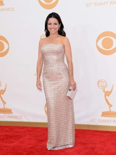 #emmyfashion Actress Julia Louis-Dreyfus arrives at the 65th Annual Primetime Emmy Awards held at Nokia Theatre L.A. Live on September 22, 2013 in Los Angeles, California.
