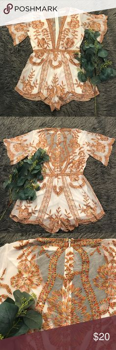 Honey Punch Romper - Honey Punch Lolita Romper - Size Large - Worn once and washed once - White soft sheer material with multi-color stitching Honey Punch Other
