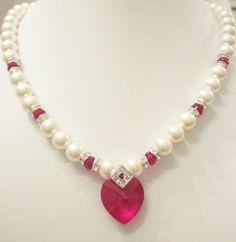 Swarovski Pearl and Crystal Necklace - White Swarovski Pearls and Red Siam Crystal Heart - Weddings, Brides, Bridesmaids