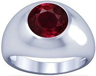 #Jewelry Platinum Round Cut Ruby Mens Ring
