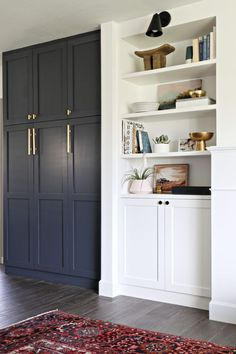 (Paint color is cyberspace by Sherwin Williams) Built In Pantry with Semihandmade | brittanyMakes