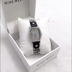 SaleNine Watch Animal Print Watch Beautiful black and white animal print watch by Nine West. Brand new in box. Top grain simulated on top and it a genuine leather backing. MSRP $49 Nine West Accessories Watches