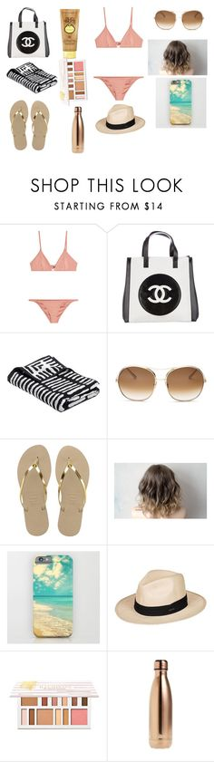 """beach day"" by danika-beadle on Polyvore featuring Melissa Odabash, Chanel, Sun Bum, Chloé, Havaianas, Roxy, BHCosmetics and S'well"