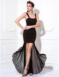 black chiffon & satin evening gown