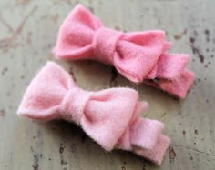 Tiny felt bow clips pick 3 colors wool by littlebloomshandmade 10