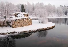 castle ruins in Kajaani, Finland.