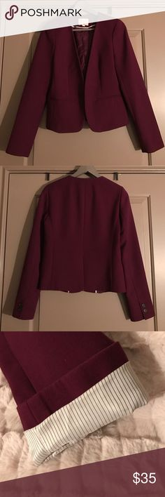 Burgundy Loft Blazer Loft blazer with open front. Striped lining on sleeves adds contrast when cuffed. Coming to you straight from the dry cleaner! Smoke and pet-free home. LOFT Jackets & Coats Blazers