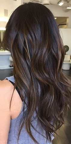 Dark brunette bayalage low lights