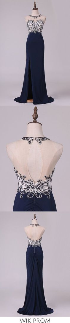 2019 Sexy Open Back Prom Dresses Sheath Scoop Spandex With Beading And Slit, This dress could be custom made, there are no extra cost to do custom size and color Split Prom Dresses, Open Back Prom Dresses, Elastic Satin, Fabric Swatches, Special Occasion Dresses, Homecoming, Custom Made, Beading, Tulle