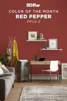 ColorSmart by Behr Paint Color Details Red Paint Colors, Office Paint Colors, Bedroom Paint Colors, Paint Colors For Living Room, Red Kitchen Walls, Kitchen Paint, Kitchen Cabinets, Interior Wall Colors, Interior Design